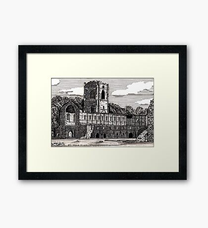043 - FOUNTAINS ABBEY, YORKSHIRE - DAVE EDWARDS - INK - 1981 Framed Print