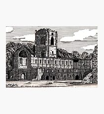 043 - FOUNTAINS ABBEY, YORKSHIRE - DAVE EDWARDS - INK - 1981 Photographic Print