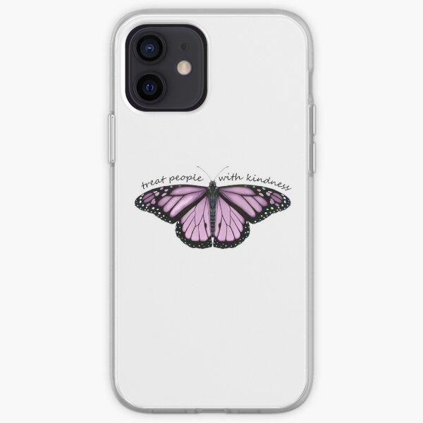 Tratar a las personas con amabilidad mariposa en púrpura Funda blanda para iPhone