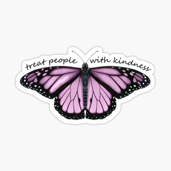 Treat People With Kindness Butterfly in Purple Sticker