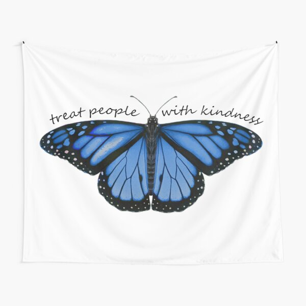 Treat People With Kindness Butterfly in Blue Tapestry