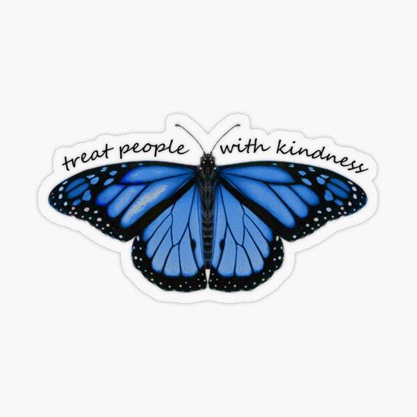 Tratar a las personas con amabilidad mariposa en azul Pegatina transparente
