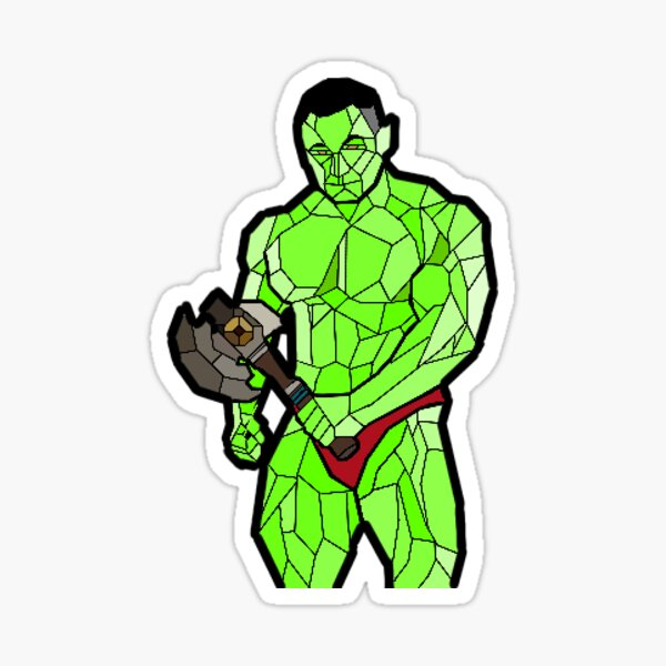 Stained Glass Orc with Hand Axe Sticker