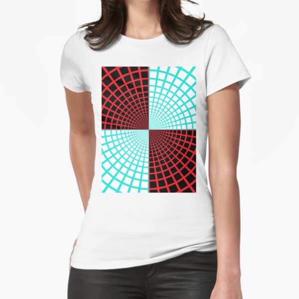 Blue/Red Circles and Rays on White and Dark Backgrounds - Tate Gallery, Britain Fitted T-Shirt