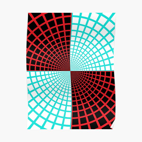 Blue/Red Circles and Rays on White and Dark Backgrounds - Tate Gallery, Britain Poster