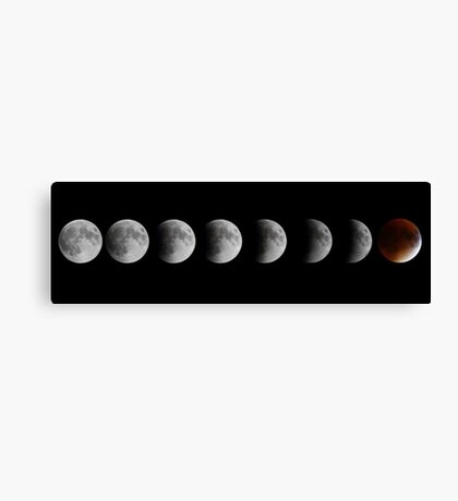 Lunar eclipse and Blood moon Canvas Print