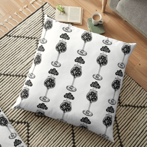 A night storm in a cup.  Floor Pillow