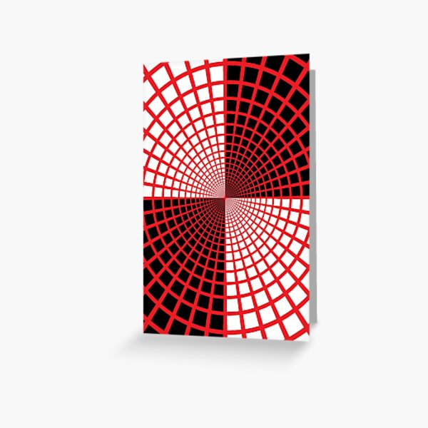 Red Circles and Rays on White Background - Astralasia Wind on Water Greeting Card