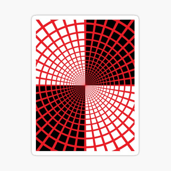Red Circles and Rays on White Background - Astralasia Wind on Water Sticker