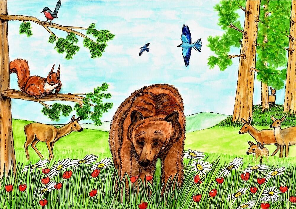 Friendly Bear - Coasters & Blocks by EuniceWilkie