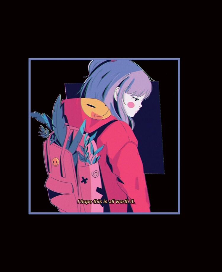 Aesthetic Sad Anime Girl Japanese Lofi Hip Hop Waifu Gift Long Sleeve T Shirt 222 Ipad Case Skin By Wvgssvbh1 Redbubble