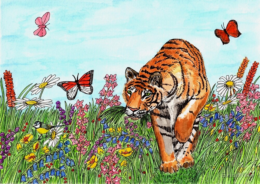 Tiger in a Perfect World - Coasters & Blocks by EuniceWilkie
