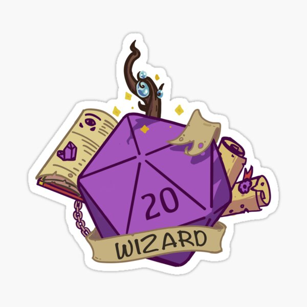 D20 Wizard Fantasy Dice Sticker