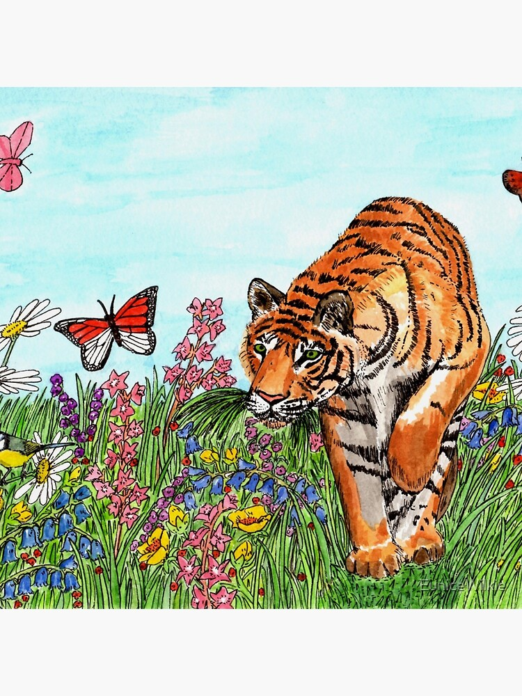Tiger in a Perfect World - Clock by EuniceWilkie