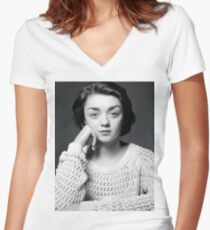 Maisie Williams Black & White Women's Fitted V-Neck T-Shirt