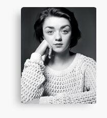 Maisie Williams Black & White Canvas Print