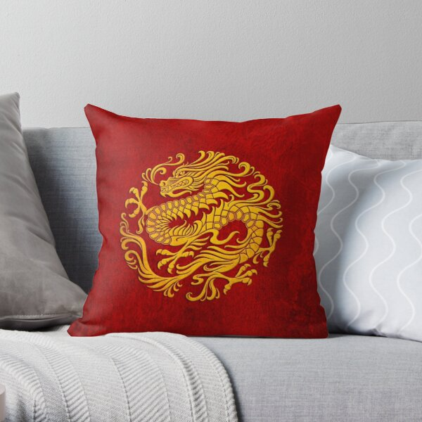 Traditional Yellow and Red Chinese Dragon Circle Throw Pillow