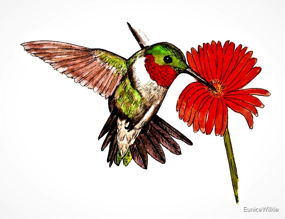 Humming Bird and Flower - Bedding & Blankets by EuniceWilkie