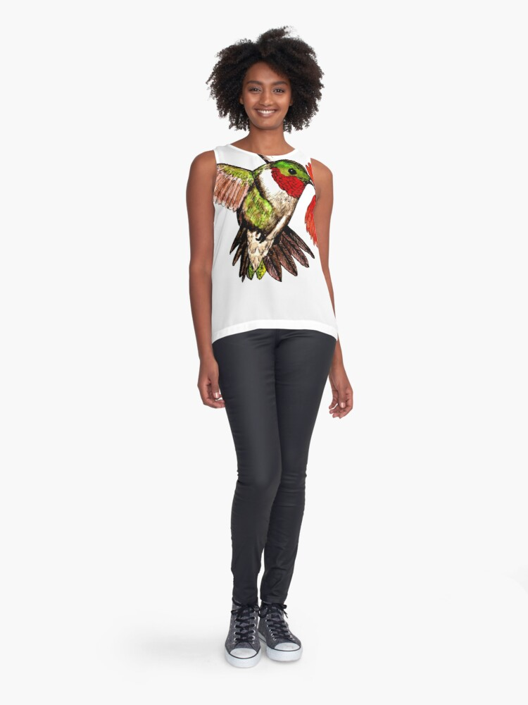 Alternate view of Humming Bird and Flower - Scarf and Clothing Sleeveless Top