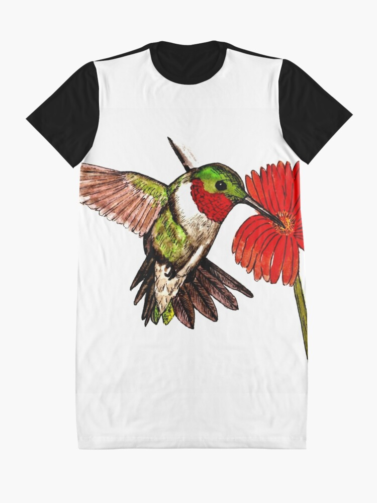 Alternate view of Humming Bird and Flower - Scarf and Clothing Graphic T-Shirt Dress