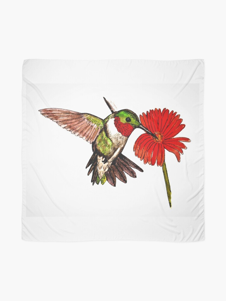 Alternate view of Humming Bird and Flower - Scarf and Clothing Scarf