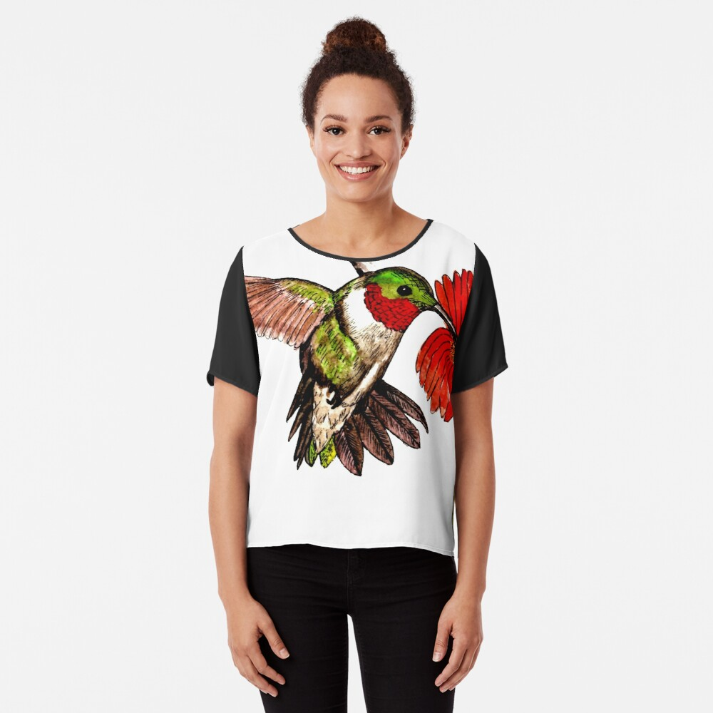 Humming Bird and Flower - Scarf and Clothing Chiffon Top