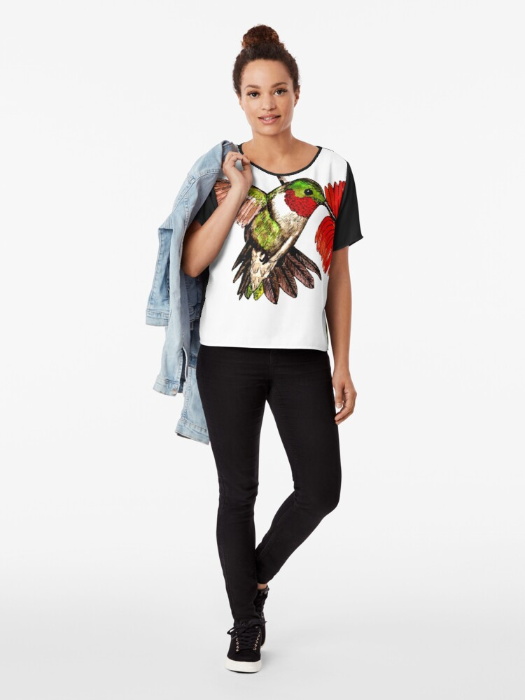 Alternate view of Humming Bird and Flower - Scarf and Clothing Chiffon Top