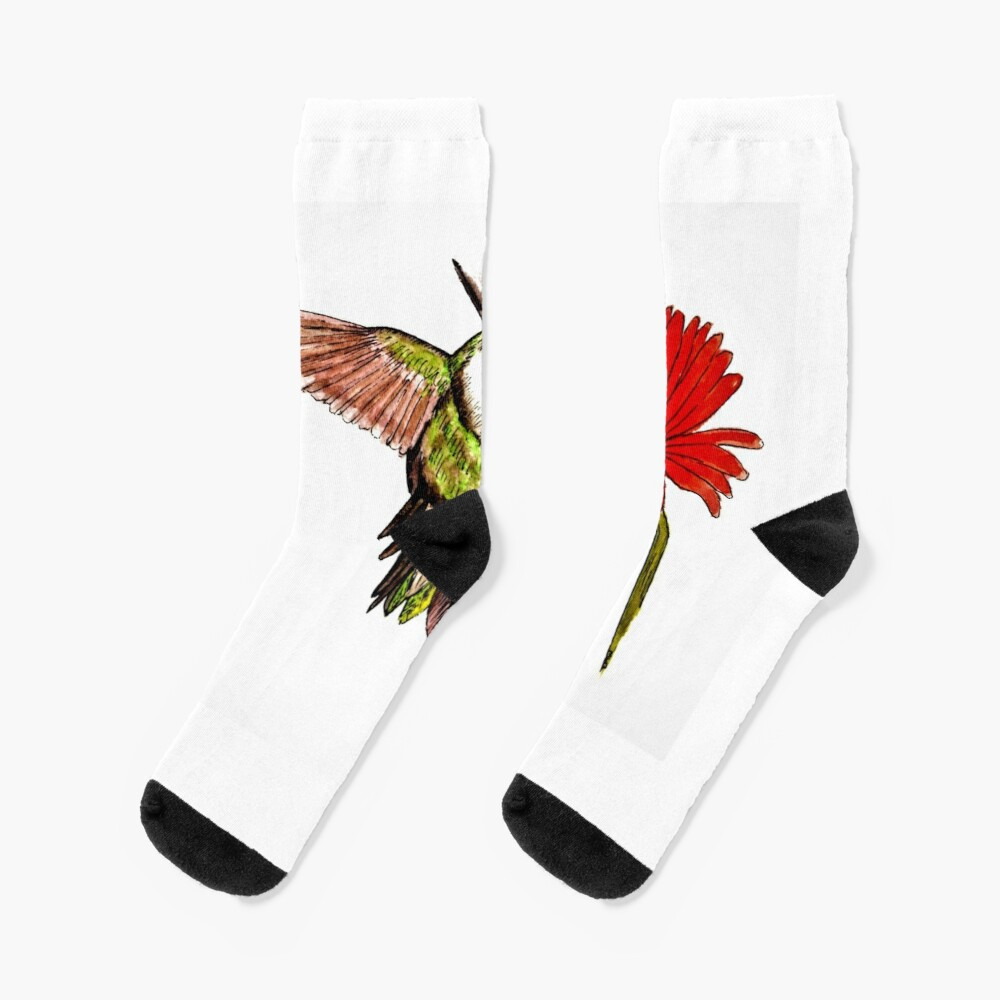 Humming Bird and Flower - Scarf and Clothing Socks
