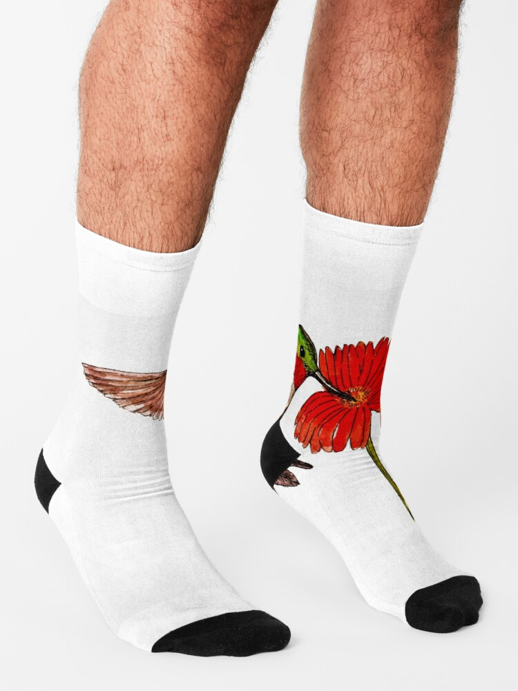 Alternate view of Humming Bird and Flower - Scarf and Clothing Socks