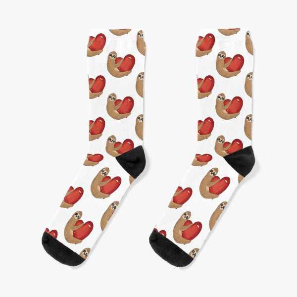 Valentine sloth with red heart Socks