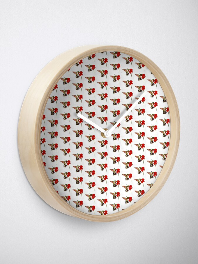 Alternate view of Humming Bird and Flower - Clock Clock