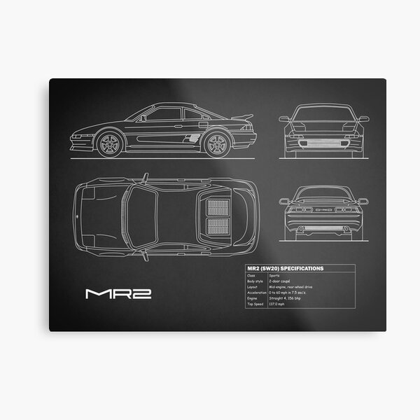 The MR2 Blueprint in Black Metal Print