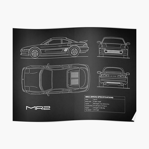The MR2 Blueprint in Black Poster