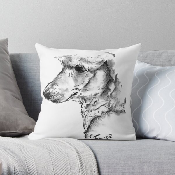 Poodle Drawing Throw Pillow