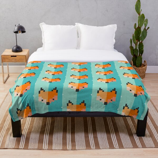 Pixel fox Throw Blanket