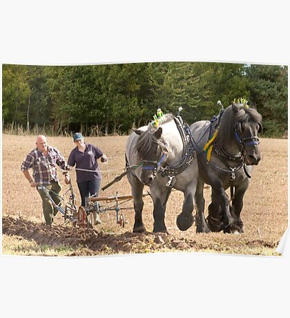 Ploughing the old way  Poster