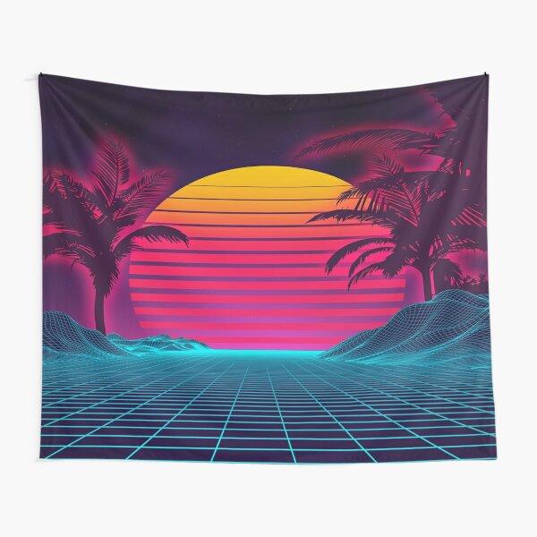 futuristic landscape 1980s style. Digital retro landscape cyber surface Tapestry