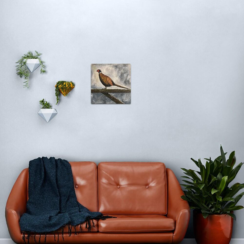 Pheasant in Falling Snow - Wall Art Metal Print