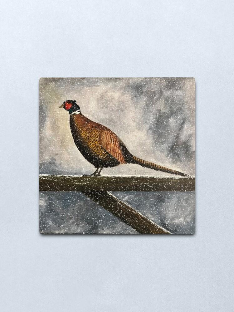 Alternate view of Pheasant in Falling Snow - Wall Art Metal Print