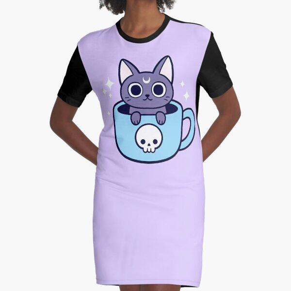 Black Magic Tea / Coffee Cat Graphic T-Shirt Dress