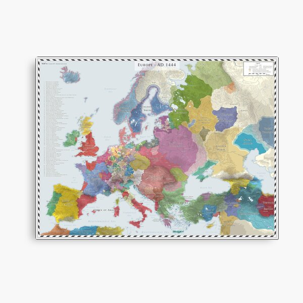 Europe (Detailed) AD 1444 Canvas Print