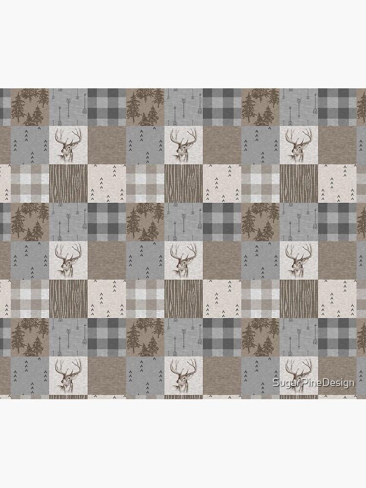 Deer Patchwork - Rustic Neutrals by SugarPineDesign
