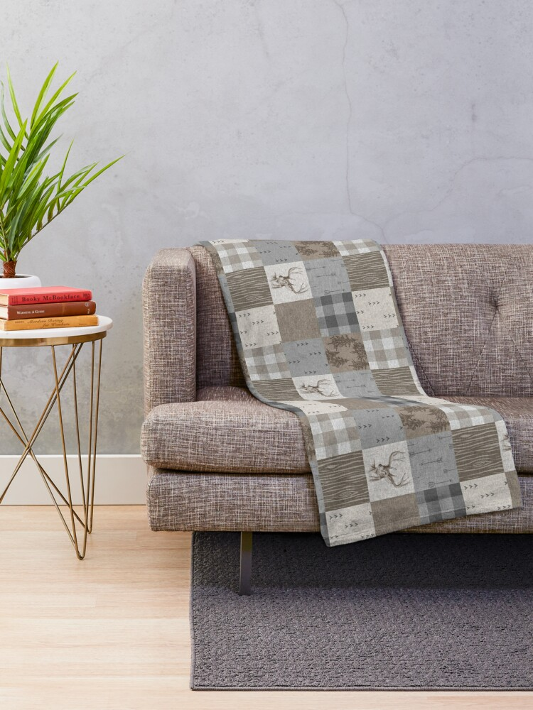 Alternate view of Deer Patchwork - Rustic Neutrals Throw Blanket