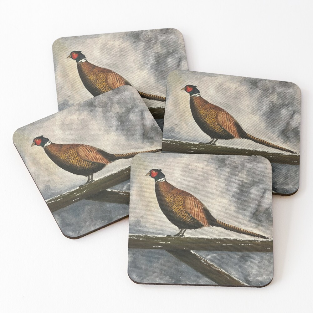 Pheasant in Winter - Coasters and Blocks Coasters (Set of 4)