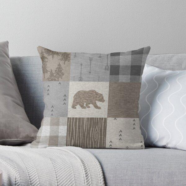 Bear Patchwork - Rustic Neutrals Throw Pillow