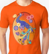 Fancy Peacock and Flowers Oval Unisex T-Shirt