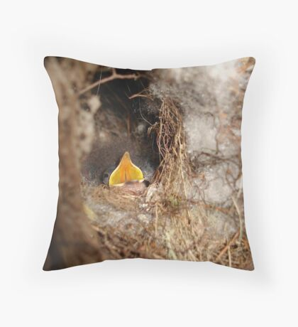CAROLINA WREN NESTLING - OPEN WIDE Throw Pillow