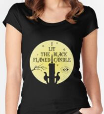 Black Flamed Candle Women's Fitted Scoop T-Shirt