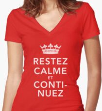 Restez Calme et Continuez Women's Fitted V-Neck T-Shirt