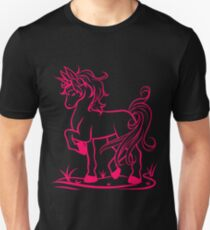 Minimal Unicorn Hot Pink T-Shirt